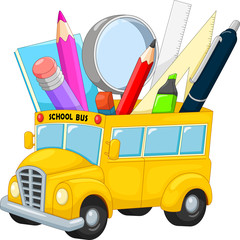 School bus with school supplies cartoon
