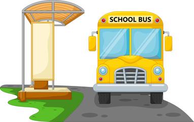 Vector illustration of cartoon school bus with bus stop