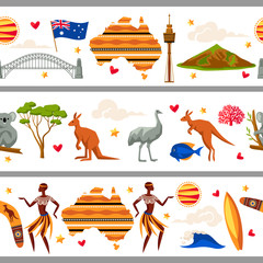 Australia seamless borders. Australian traditional symbols and objects