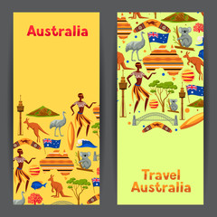 Australia banners design. Australian traditional symbols and objects