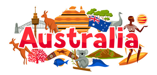 Australia banner design. Australian traditional symbols and objects