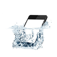 Smartphone with empty screen falls into water. Water splash isolated on white - 3D rendering
