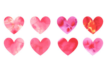 Set of vector watercolor hearts. Hand-drawn various red pink orange hearts isolated on white background. Wedding or Valentine's Day template. Love concept