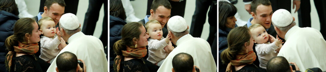 A combination picture shows a baby caressing Pope Francis during his Wednesday general audience in Paul VI hall at the Vatican