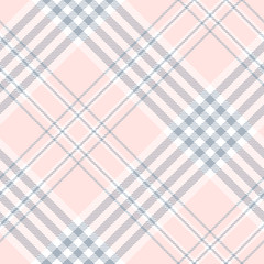 Plaid check pattern in pale pink, dusty blue and white. Seamless fabric texture.