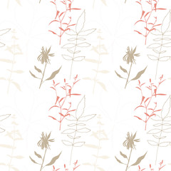 Floral vector seamless pattern with wild flowers, chestnut tree leaves and herbs.
