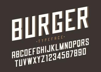 Burger vector retro regular font design, alphabet, typeface, typ