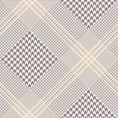 Glen plaid pattern in brown, off-white and pale orange. Prince of Wales check. Seamless fabric texture.