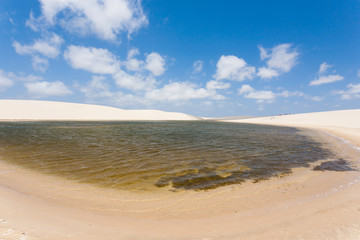 White sand dunes panorama from Lencois Maranhenses National Park, Brazil.