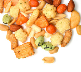 Arare (Japanese Crackers) on a white background