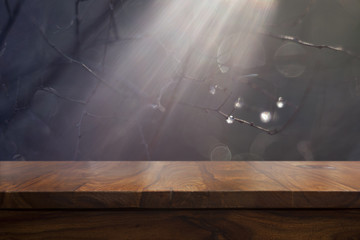 Empty top wooden table and bokeh background