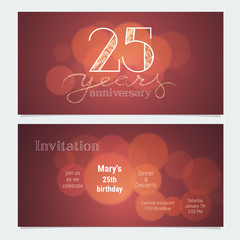 25 years anniversary invitation to celebration vector illustration