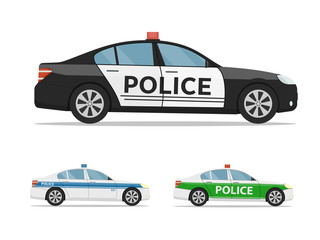 Set of police cars side view, isolated on white background. International police car.