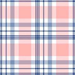 Plaid check pattern in pink and navy blue. Seamless fabric texture print.