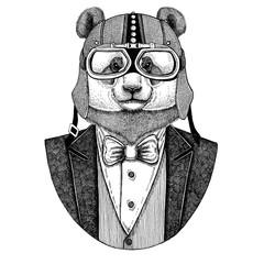 Panda bear, bamboo bear wearing jacket with bow-tie and biker helmet or aviatior helmet. Elegant biker, motorcycle rider, aviator. Image for tattoo, t-shirt, emblem, badge, logo, patches