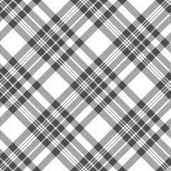 Plaid check pattern in grey and white. Seamless fabric texture print.