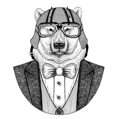 Polar bear Hand drawn Animal wearing jacket with bow-tie and biker helmet or aviatior helmet. Elegant biker, motorcycle rider, aviator. Image for tattoo, t-shirt, emblem, badge, logo, patches