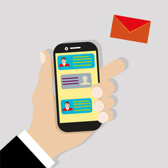 Sending message. Mobile chat. Hand holding phone with envelope, send button and notification, email. Flat cartoon illustration for web banners, sites, infographics design. Vector