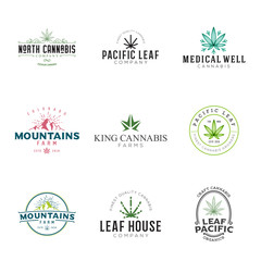 Set of marijuana cannabis leaf logo, labels. Modern vintage logo for recreation and medical use. Several leaf illustrations, hand drawn, geometric, stylized.