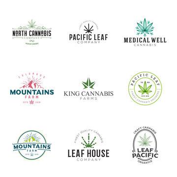 Set of marijuana cannabis leaf logo, labels. Modern vintage logo for recreation and medical use. Several leaf illustrations, hand drawn, geometric, stylized.