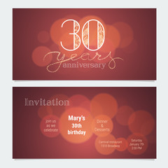 30 years anniversary invitation to celebration vector illustration