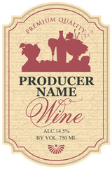 Vector wine label with the silhouette still life of bottle, wine glass and bowl of fruit in the notched frame on the manuscript background in retro style