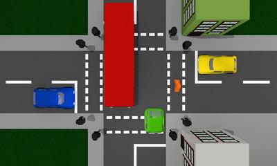 Stadtansicht von oben: Kreuzung mit Ampel und bunten Autos.