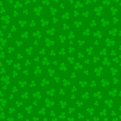 Saint Patricks Day. Seamless pattern. Green clover. Vector