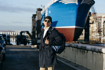 Stylish man at ship