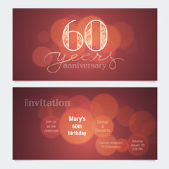 60 years anniversary invitation to celebration vector illustration