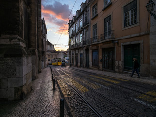 Sunset in the streets of Lisbon. Tram. Portugal.