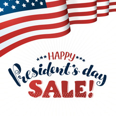 Happy Presidents Day Sale text  with american flag isolated on white background. Hand drawn calligraphy. USA President day lettering with decorative ribbon.