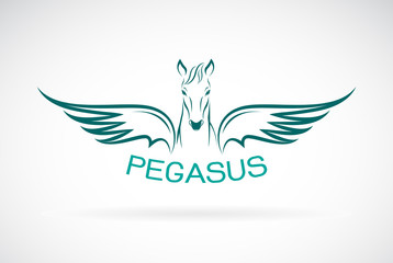 Vector of a horse pegasus design on white background. Wild Animals. Easy editable layered vector illustration.