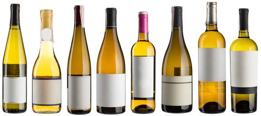 White wine bottles set