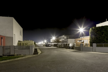 empty night street in residential area Fotomurales