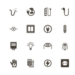 Electricity icons. Perfect black pictogram on white background. Flat simple vector icon.