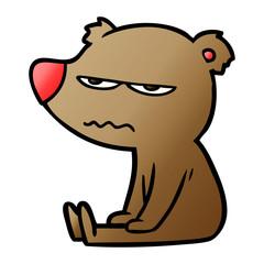 angry bear cartoon sitting