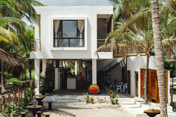 Beach modern house view at the Caribbean sea in Palomino, Magdalena, Colombia