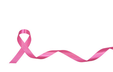 pink ribbon breast cancer isolated on white background. with copy space