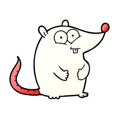 cartoon happy white lab mouse