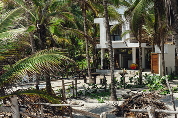 View of a beach house surrounded by palm trees in Palomino, Magdalena, Colombia