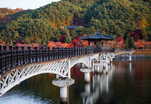 Wolyeonggyo bridge, Wooden bridge at Andong, South Korea.