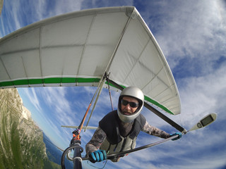 Hang glider pilot chot with action camera