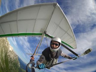 Hang glider pilot chot with action camera
