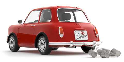 rotes Auto just married