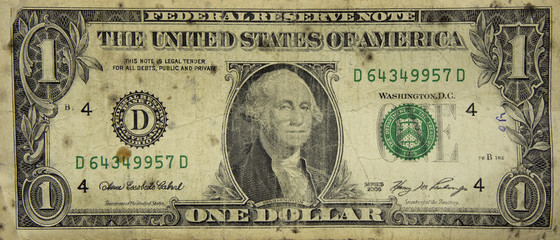 Very old shabby dollar, background isolate.