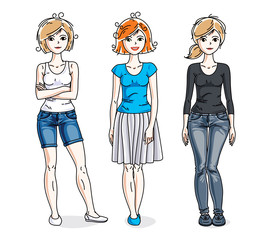 Happy young adult girls group standing wearing fashionable casual clothes. Vector people illustrations set.