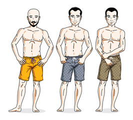 Handsome men standing with perfect body, wearing beach shorts. Vector people illustrations set. Lifestyle theme male characters.