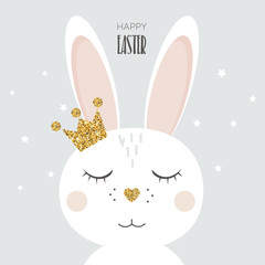 Easter bunny  with glitter crown