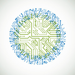 Technology communication cybernetic element with arrows. Vector abstract illustration of circuit board in the shape of circle.
